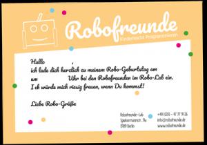 Abbildung der Einladungskarte für einen Robofreundegeburtstag