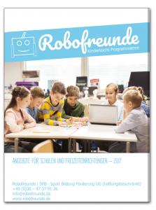 Deckblatt der Info-Broschüre von Robofreunde für Schulen